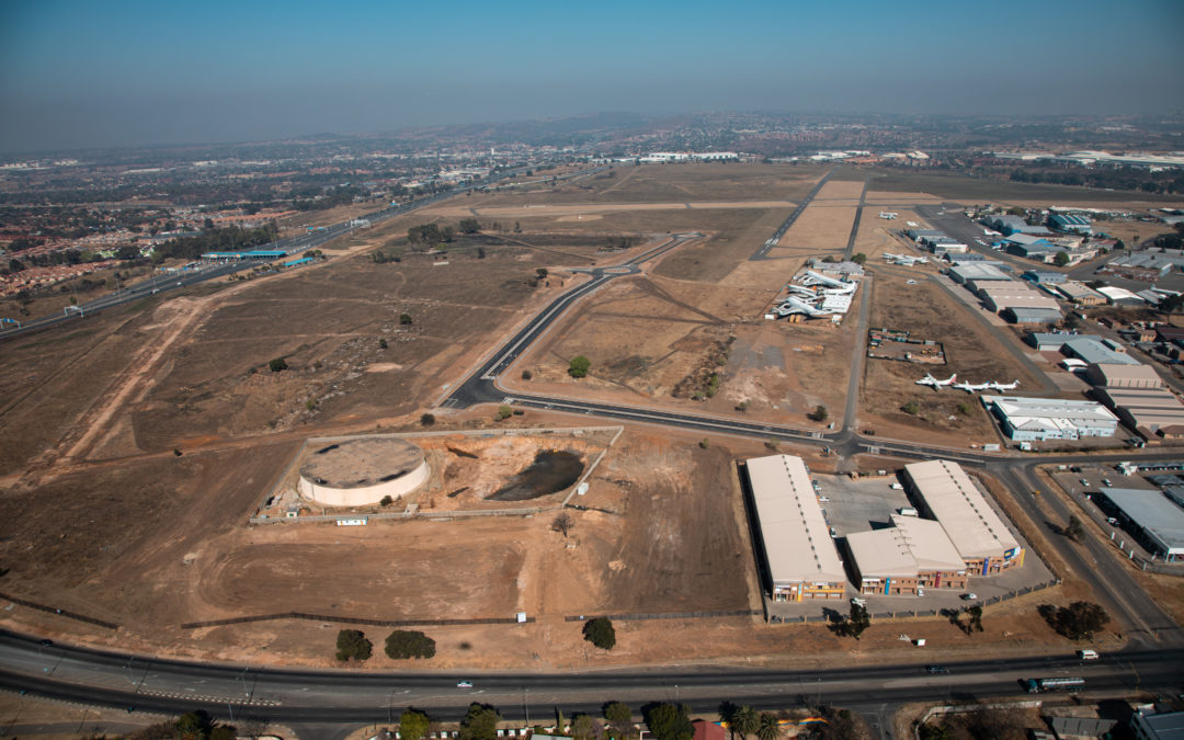 Aerial View of Development Progress at Rand Airport Commercial Precinct